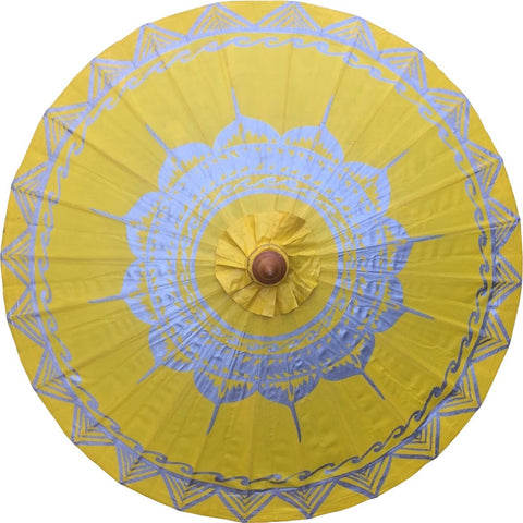 "Parasol Umbrella Silver Lotus on Yellow NO Lines Oiled Cotton Painted With Bamboo handle 24"" length - 28"" open"