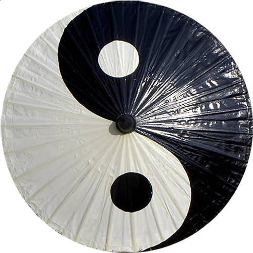 Parasol Umbrella Yin Yang Painted on Oiled Cotton