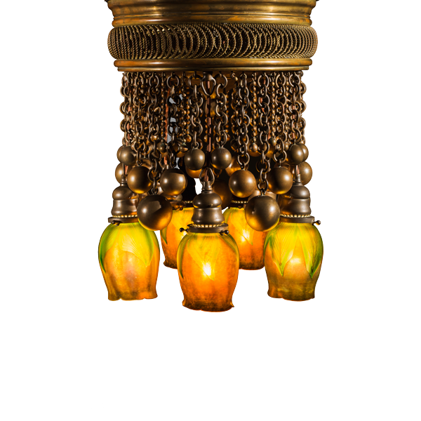 Moorish chandelier with Favrile shades