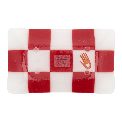 Glass Incense Tray - Strawberry and Cream Battenberg