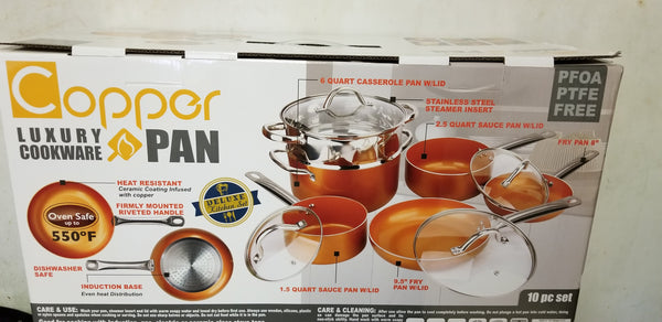 Copper Luxury Cookware Pan and 10 piece set