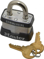 "Master Lock - 3/4"" Shackle Clearance, Keyed Alike Maximum Security Padlock - 9/32"" Shackle Diam, Laminated Steel"
