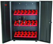 Wall Tree Locker - Hold 18 Pcs. 40 Taper - Textured Black with Red Shelves