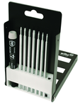 8 Piece - System 4 ESD Safe Torx® Interchangeable Blade Set - #26987 - Includes: T3 - T20 - ESD Safe Handle - Compact Fold Out Box.