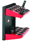 CNC Machine Mount Rack - Holds 28 Pcs. 40 Taper - Black/Red