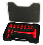 "Insulated 1/4"" Inch T-Handle Socket Set Includes Socket Sizes: 3/16; 7/32; 1/4; 9/32; 5/16; 11/32; 3/8; 7/16; 1/2; 9/16 and T Handle In Storage Box. 11 Pieces"