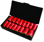 "Insulated 3/8"" Drive Inch & Metric Socket Set 5/16""-3/4"" and 8.0mm - 19mm Sockets in Storage Box. 16 Pc Set"