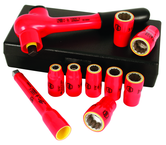 "Insulated 3/8"" Drive Inch Socket Set 5/16"" - 3/4"" 125mm Extension Bar and 3/8"" Drive Ratchet in Storage Box. 10 Pc Set"