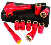 "Insulated 3/8"" Drive Metric Socket Set 8.0mm - 19.0mm Sockets; 125mm Extension Bar; 3/8"" Ratchet in Storage Box. 10 Piece Set"