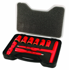 "Insulated 3/8"" Drive Metric T-Handle & Socket Set Includes Socket sizes 8 - 19mm and 125mm Extension Bar and T-Handle In Storage Box. 11 Pieces"