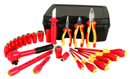 "Insulated 1/2"" Drive Inch Socket Set with 3/8"" - 1"" Sockets; 2 Extension Bars; 1/2"" Ratchet; Knife; Slotted & Phillips; 3 Pliers/Cutters in Storage Box. 24 Pieces"