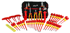 48 Piece - Insulated Tool Set with Pliers; Cutters; Nut Drivers; Screwdrivers; T Handles; Knife & Ruler in Tool Box