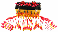 "66 Piece - Insulated Tool Set with Pliers; Cutters; Nut Drivers; Screwdrivers; T Handles; Knife; Sockets & 3/8"" Drive Ratchet w/Extension; Adjustable Wrench"