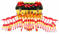 "80 Piece - Insulated Tool Set with Pliers; Cutters; Nut Drivers; Screwdrivers; T Handles; Knife; Sockets & 3/8"" Drive Ratchet w/Extension; Adjustable Wrench; Ruler"