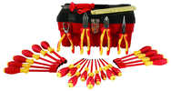 25 Piece - Insulated Tool Set with Pliers; Cutters; Ruler; Knife; Slotted; Phillips; Square & Terminal Block Screwdrivers; Nut Drivers in Tool Box