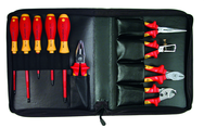 10 Piece - Insulated Pliers; Cutters; Wire Stripper; Slotted & Phillips Screwdrivers in Zipper Case