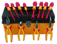 12 Piece - Insulated Pliers; Cutters; Slotted & Phillips Screwdrivers; Nut Drivers in Tool Box