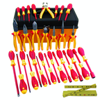 31 Piece - Insulated Pliers; Cutters; Stripping Pliers; Slotted & Phillips Screwdrivers; Nut Drivers; Ruler in Tool Box