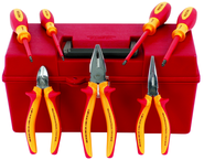 "7 Piece - Insulated 7"" Combo Pliers; 6.3"" Long Nose; 5.5"" Diagonal Cutters; Slotted 3.0& 4.5 and Phillips # 0-2 Screwdrivers in Tool Box"