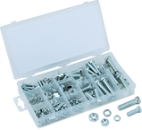 240 Pc. USS Nut & Bolt Assortment - Bolts; hex nuts and washers. Zinc oxide finish