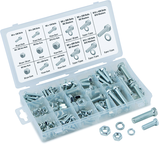 240 Pc. Metric Nut & Bolt Assortment - Bolts; hex nuts and washers. Zinc Oxide finish
