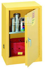 "Compact Storage Cabinet - #5473 - 23-1/4 x 18 x 35"" - 12 Gallon - w/one shelf, 1-door manual close - Yellow Only"