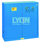 "Acid Storage Cabinet - #5541 - 43 x 18 x 44"" - 30 Gallon - w/one shelf, two poly trays, bi-fold self-closing door - Blue Only"