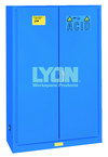 "Acid Storage Cabinet - #5544 - 43 x 18 x 65"" - 45 Gallon - w/2 shelves, three poly trays, 2-door manual close - Blue Only"