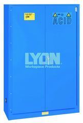 "Acid Storage Cabinet - #5545 - 43 x 18 x 65"" - 45 Gallon - w/2 shelves, three poly trays, bi-fold self-closing door - Blue Only"