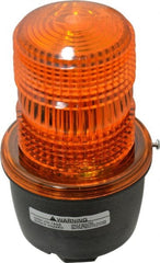 Federal Signal Corp - 120 VAC, 4X NEMA Rated, Strobe Tube, Amber, Low Profile Mini Strobe Light - 65 to 95 Flashes per min, 1/2 Inch Pipe, 3-1/8 Inch Diameter, 5.7 Inch High, IP66 Ingress Rating, Pipe Mount