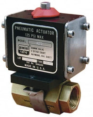 "Gemini Valve - 3/8"" Pipe, 720 psi WOG Rating Brass Pneumatic Double Acting with Solenoid Actuated Ball Valve - Reinforced PTFE Seal, Full Port, Threaded (NPT) End Connection"