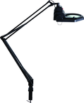 "LED Illuminated Magnifier - 5 Diopter - 45"" Articulating Arm - Adjustable Clamp Base"