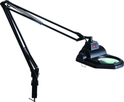 "LED Illuminated Magnifier - 3 Diopter - 45"" Articulating Arm - Adjustable Clamp Base"