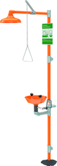 Guardian combination eyewash and shower station. Eyewash features a plastic bowl with two GS-Plus™ spray-type outlet heads that deliver a flood of water for rinsing eyes.