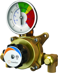 Guardian tempering valve blends hot and cold water to deliver tepid water. Valve has flow capacity of 2 to 6 gallons per minute (GPM). Valve can be used with an eyewash, eye/face wash, dual purpose eyewash/drench hose or drench hose unit.