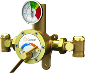 Guardian tempering valve blends hot and cold water to deliver tepid water. Flow capacity is 3.0 to 34 GPM, for use with a single emergency shower, or multiple eyewash, eye/face wash, eyewash/drench hose or drench hose units.