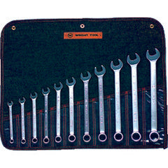 "Wright Tool Fractional Combination Wrench Set -- 11 Pieces; 12PT Chrome Plated; Includes Sizes: 3/8; 7/16; 1/2; 9/16; 5/8; 11/16; 3/4; 13/16; 7/8; 15/16; 1""; Grip Feature"