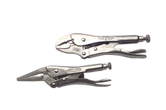 "Locking Plier Set -- 2pc. Chrome Plated- Includes: 6"" Long Nose; 7"" Curved Jaw"