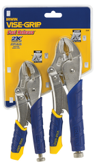 "Fast Release Curved Jaw Locking Pliers Set -- 2 Pieces -- Includes: 5"" & 10"" Curved Jaw"