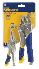"Fast Release Curved Jaw Locking Pliers Set -- 2 Pieces -- Includes: 10"" Curved Jaw & 6"" Long Nose"