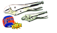 2pc. Chrome Plated Locking Pliers Set with Free Soft Toss Tiger Baseball