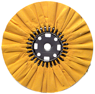 16 x 1-1/4'' (7 x 8'' Flange) - Cotton Treated - Stiff Yellow Sheeting for Non-Ferrous Metals Ventilated Bias Buffing Wheel