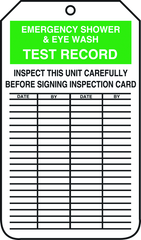 Inspection Record Tag, Emergency Shower & Eye Wash Test Record, 25/Pk, Plastic