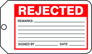 Production Control Tag, Rejected, 25/Pk, Plastic