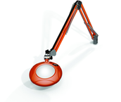 "Green-Lite® 5"" Brilliant Orange Round LED Magnifier; 43"" Reach; Table Edge Clamp"