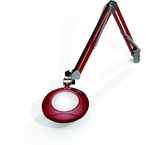 "Green-Lite® 5"" Blazing Red Round LED Magnifier; 43"" Reach; Table Edge Clamp"