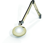 "Green-Lite® 5"" Shadow White Round LED Magnifier; 43"" Reach; Table Edge Clamp"
