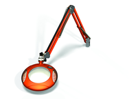 "Green-Lite® 6"" Brilliant Orange Round LED Magnifier; 43"" Reach; Table Edge Clamp"