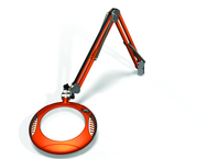 "Green-Lite® 7-1/2"" Brilliant Orange Round LED Magnifier; 43"" Reach; Table Edge Clamp"