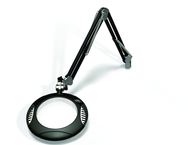 "Green-Lite® 7-1/2"" Black Round LED Magnifier; 43"" Reach; Table Edge Clamp"